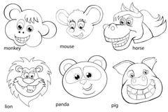 Coloring book. Animal heads. Set. Cartoon style. Isolated image on white background Stock Image