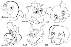 Coloring book. Animal heads. Set. Cartoon style. Isolated image on white background Royalty Free Stock Photos