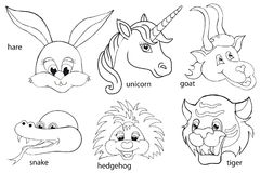 Coloring book. Animal heads. Set. Cartoon style. Isolated image on white background Royalty Free Stock Photography