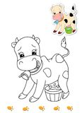Coloring book of animals 16 - cow Royalty Free Stock Image