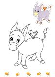 Coloring book of animals 18 - donkey. Page with the donkey to be color for children. Digital illustration realized with Photoshop with the sketch in black and stock illustration