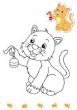 Coloring book of animals 2 - cat Stock Images