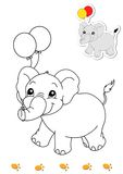 Coloring book of animals 8 - elephant Royalty Free Stock Photos