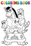 Coloring book animals in car Stock Photo