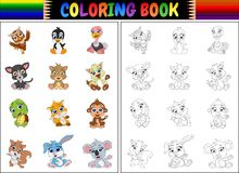 Coloring book with animals cartoon collection Stock Images