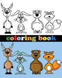 Coloring book of animals,vector Royalty Free Stock Image