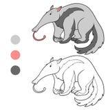 Coloring book (anteater) Stock Photos