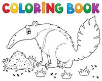 Coloring book anteater theme 1 Stock Photography