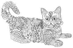 Coloring book  anti stress. Cat. Colour therapy. Royalty Free Stock Image
