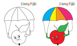 Coloring Book Apple Parashooter. Coloring book  Apple Parashooter Stock Image