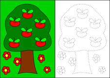 Coloring book-apple tree. Apple tree green red nature bio garden food stock illustration