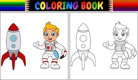 Coloring book with astronaut kid and rocket ship. Illustration of Coloring book with astronaut kid and rocket ship Royalty Free Stock Image