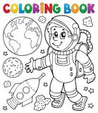Coloring book astronaut theme 1 stock illustration