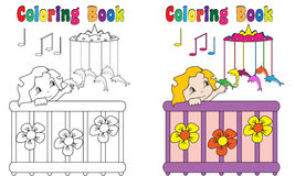 Coloring Book Baby Bed Music Bell. Coloring book Baby in bed with music bell dolphins Stock Photo