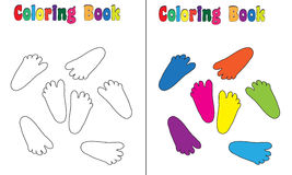 Coloring Book Baby feet. Coloring and colored version included Royalty Free Stock Image