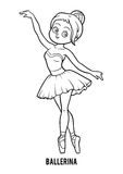 Coloring book, Ballerina. Coloring book for children, Ballerina Stock Images