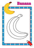 Coloring book, banana Stock Image