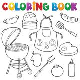 Coloring book barbeque set 1 Royalty Free Stock Image