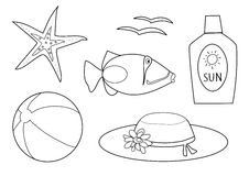 Coloring book - at the beach Stock Photo