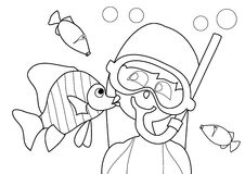Coloring book - at the beach Royalty Free Stock Photography