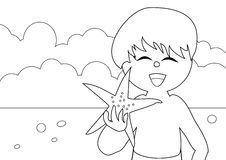 Coloring book - at the beach Stock Photography