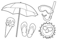 Coloring Page Beach Math Game Stock Illustration