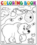 Coloring book bear theme 3 Royalty Free Stock Images