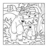Coloring book (bears in the forest), colorless letter B Stock Images