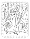 Coloring Book Of Beautiful Girl In The Forest royalty free stock image