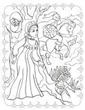 Coloring Book Of Beautiful Girl And Knight On Horse royalty free stock photo