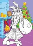 Coloring Book Of Beautiful Girl With Santa Bag royalty free illustration
