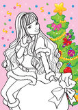 Coloring Book Of Beautiful Girl Sitting On Bag royalty free illustration