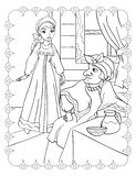 Coloring Book Of Beautiful Girl And Stepmother vector illustration