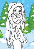 Coloring Book Of Beautiful Girl In Winter Forest royalty free illustration
