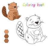 Coloring book beaver kids layout for game Royalty Free Stock Photography