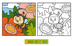 Coloring book (bee and background) Royalty Free Stock Images