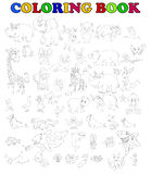 Coloring book of big animal cartoon set Stock Photos
