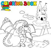 Coloring book with big dragon 1 Royalty Free Stock Photo
