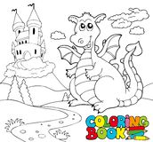 Coloring book with big dragon 2 Stock Photo
