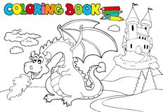 Coloring book with big dragon 3 royalty free illustration