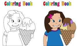 Coloring Book Big Ice cream. Coloring book  Girl with ice cream Stock Photography