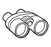 Coloring book, Binoculars Stock Photo