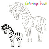 Coloring book bird zebra kids layout for game Royalty Free Stock Photos