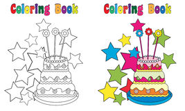 Coloring Book Birthday Cake. Coloring and colored version included Stock Photos