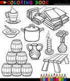 Cartoon Different Objects Coloring Page Royalty Free Stock Images