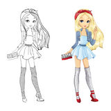 Coloring Book Of Blonde Girl Royalty Free Stock Photo