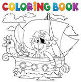 Coloring book boat with pirate monkey Stock Images