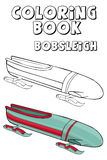 Coloring book   bobsleigh couple .  Cartoon style. Clip art for children. Royalty Free Stock Images