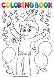 Coloring book boy celebrating theme 1 Stock Photography