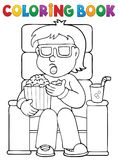 Coloring book boy in cinema theme 1 Stock Images